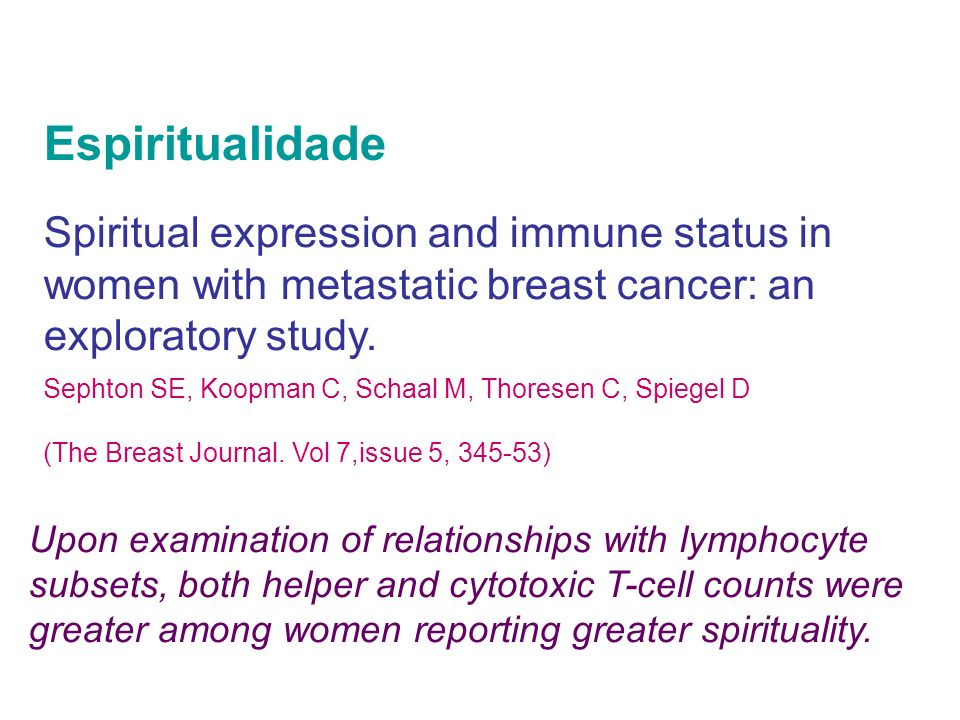 Espiritualidade Spiritual expression and immune status in women with metastatic breast cancer: an exploratory study.