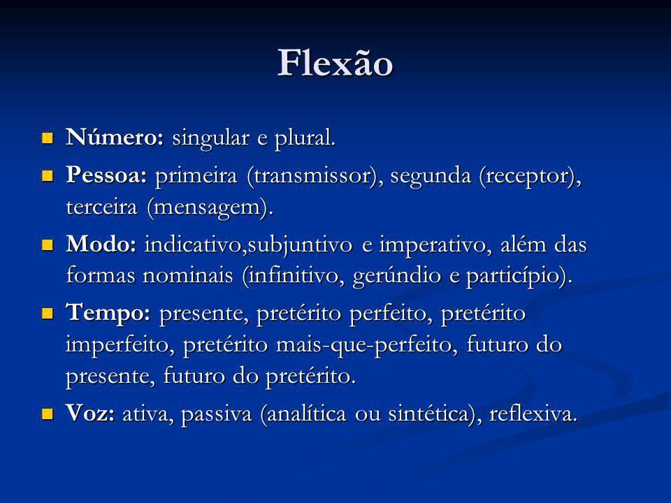 Flexão Número: singular e plural.