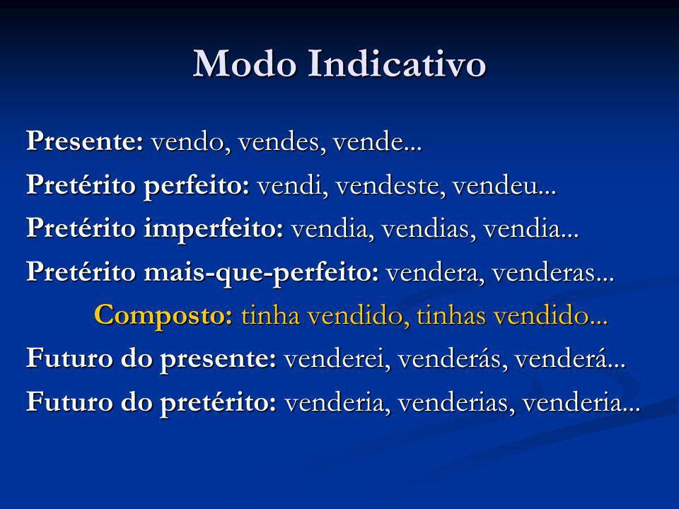 Modo Indicativo Presente: vendo, vendes, vende...