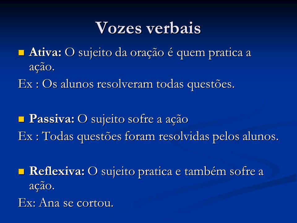 Vozes verbais Ativa: O sujeito da oração é quem pratica a ação.