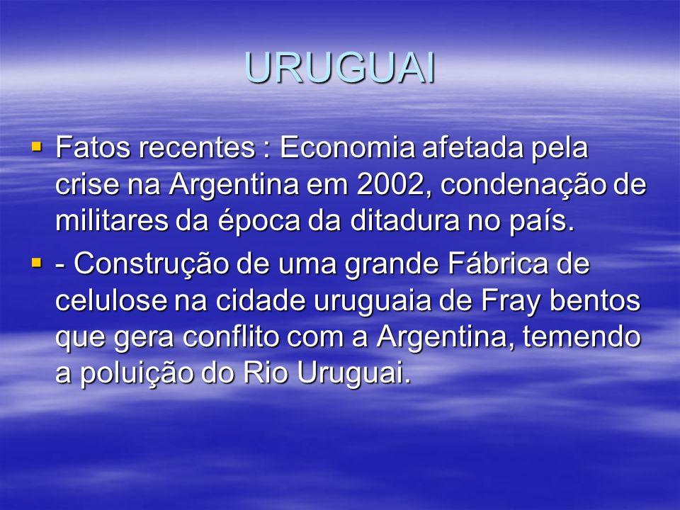 URUGUAIFatos recentes : Economia afetada pela crise na Argentina em 2002, condenação de militares da época da ditadura no país.