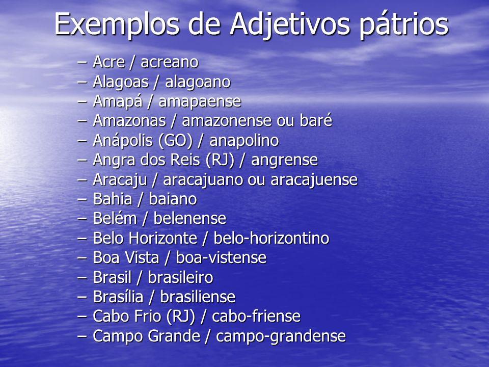Exemplos de Adjetivos pátrios