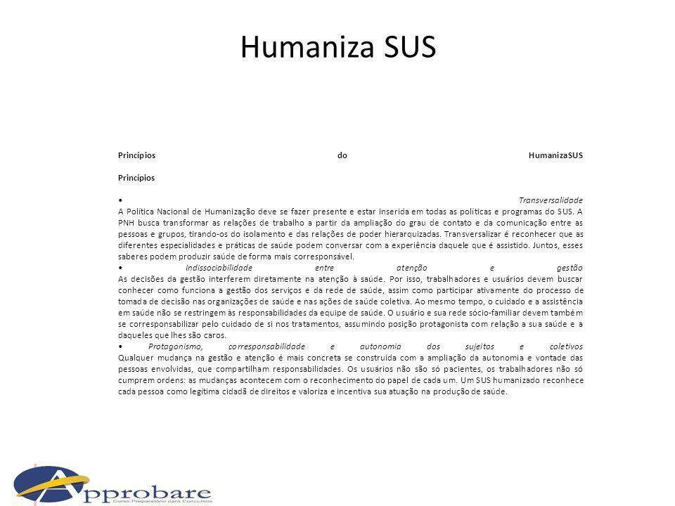 Humaniza SUS Princípios do HumanizaSUS Princípios