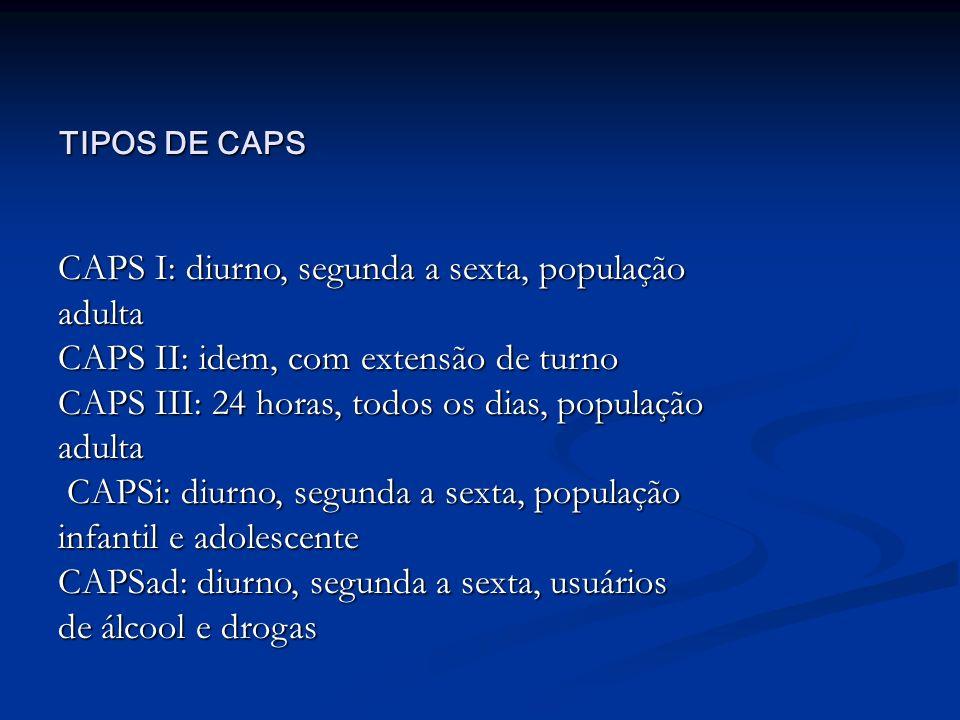 CAPS I: diurno, segunda a sexta, população adulta
