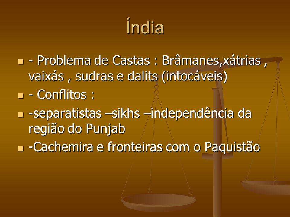 Índia - Problema de Castas : Brâmanes,xátrias , vaixás , sudras e dalits (intocáveis) - Conflitos :