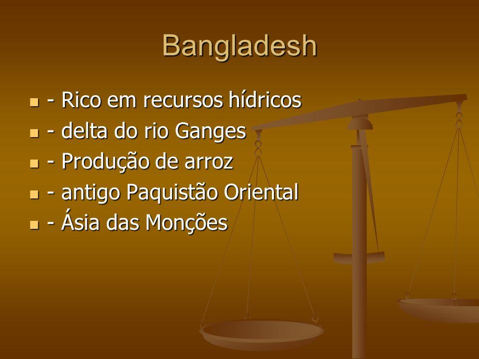 Bangladesh - Rico em recursos hídricos - delta do rio Ganges