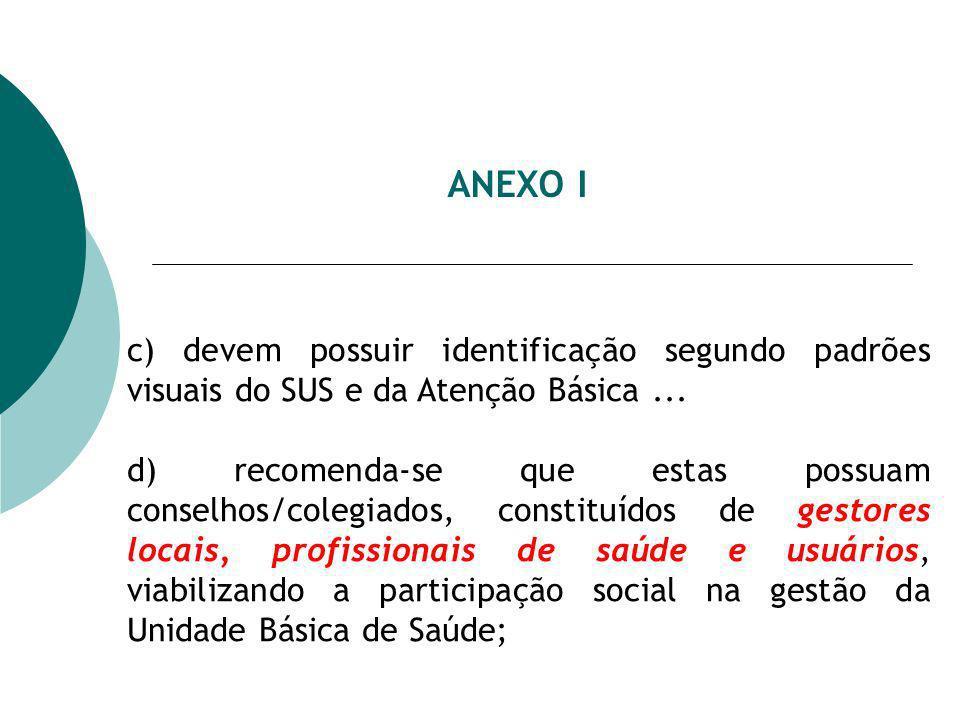 ANEXO I c) devem possuir identificação segundo padrões visuais do SUS e da Atenção Básica ...