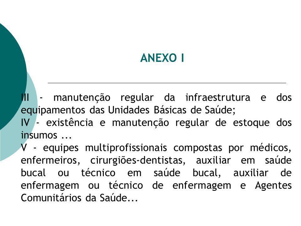 ANEXO I III - manutenção regular da infraestrutura e dos equipamentos das Unidades Básicas de Saúde;