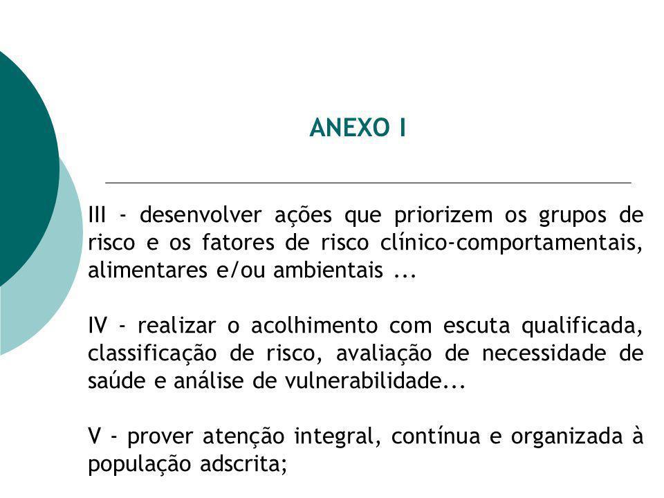 ANEXO I III - desenvolver ações que priorizem os grupos de risco e os fatores de risco clínico-comportamentais, alimentares e/ou ambientais ...