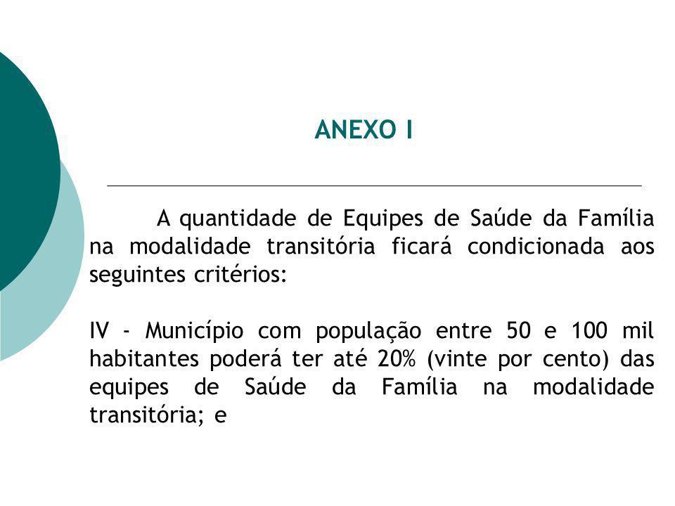 ANEXO I A quantidade de Equipes de Saúde da Família na modalidade transitória ficará condicionada aos seguintes critérios:
