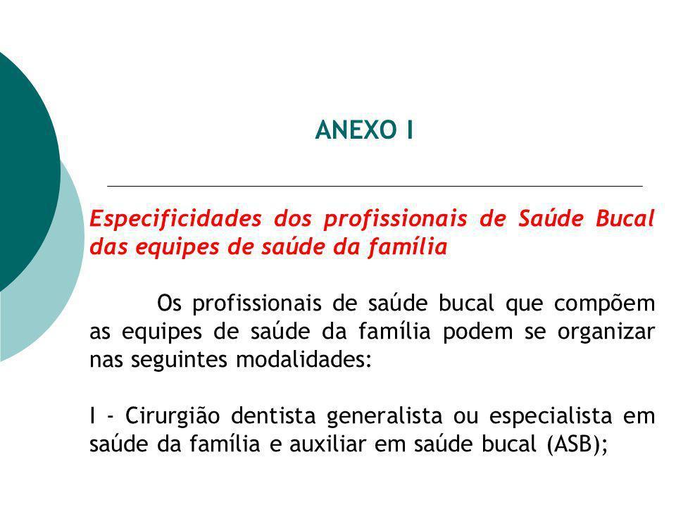 ANEXO I Especificidades dos profissionais de Saúde Bucal das equipes de saúde da família.