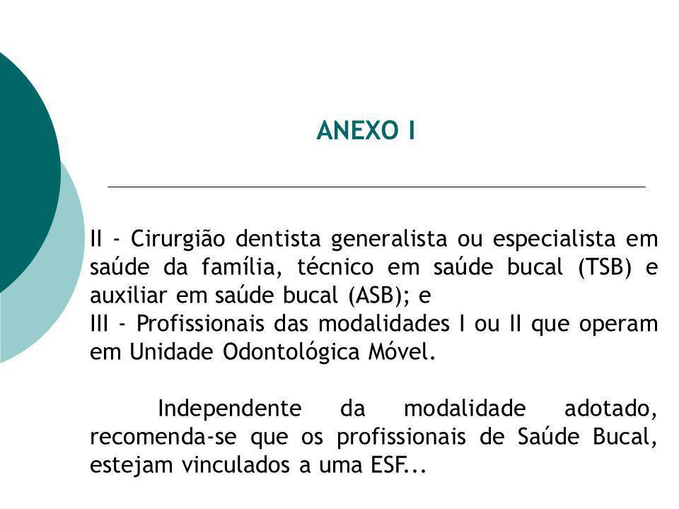 ANEXO I II - Cirurgião dentista generalista ou especialista em saúde da família, técnico em saúde bucal (TSB) e auxiliar em saúde bucal (ASB); e.