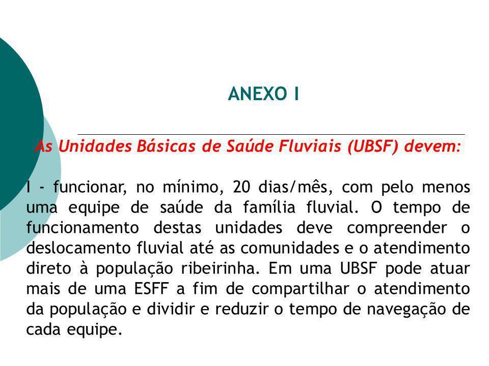 As Unidades Básicas de Saúde Fluviais (UBSF) devem: