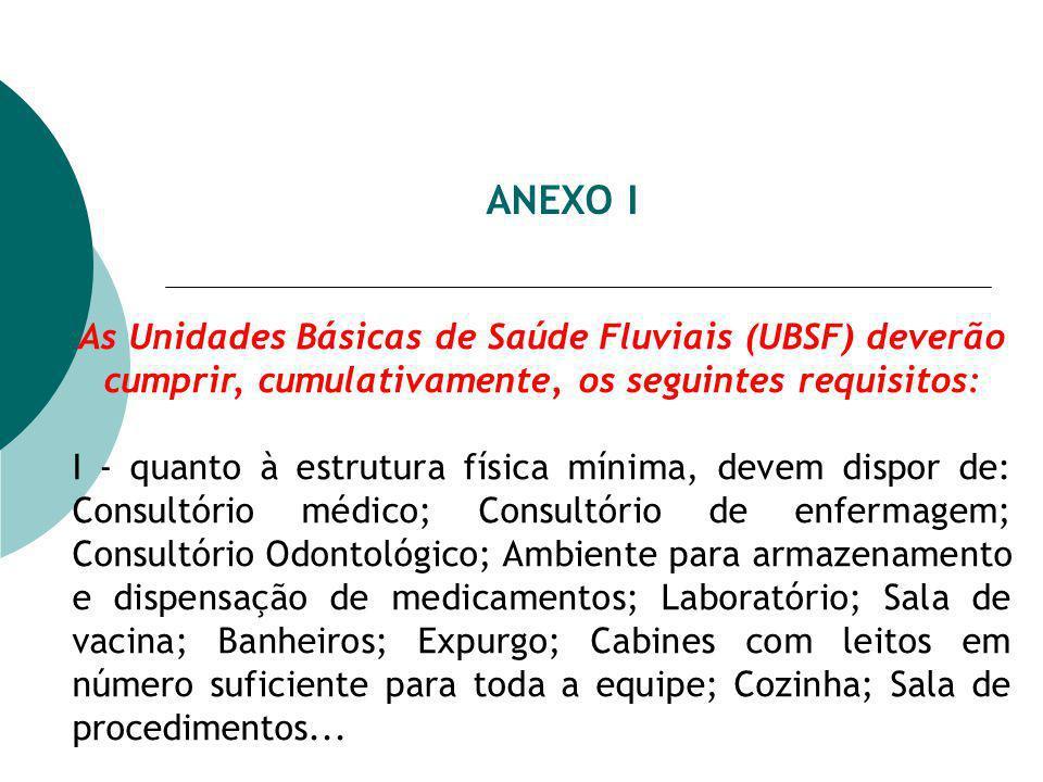 ANEXO I As Unidades Básicas de Saúde Fluviais (UBSF) deverão cumprir, cumulativamente, os seguintes requisitos: