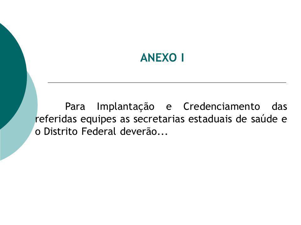 ANEXO I Para Implantação e Credenciamento das referidas equipes as secretarias estaduais de saúde e o Distrito Federal deverão...