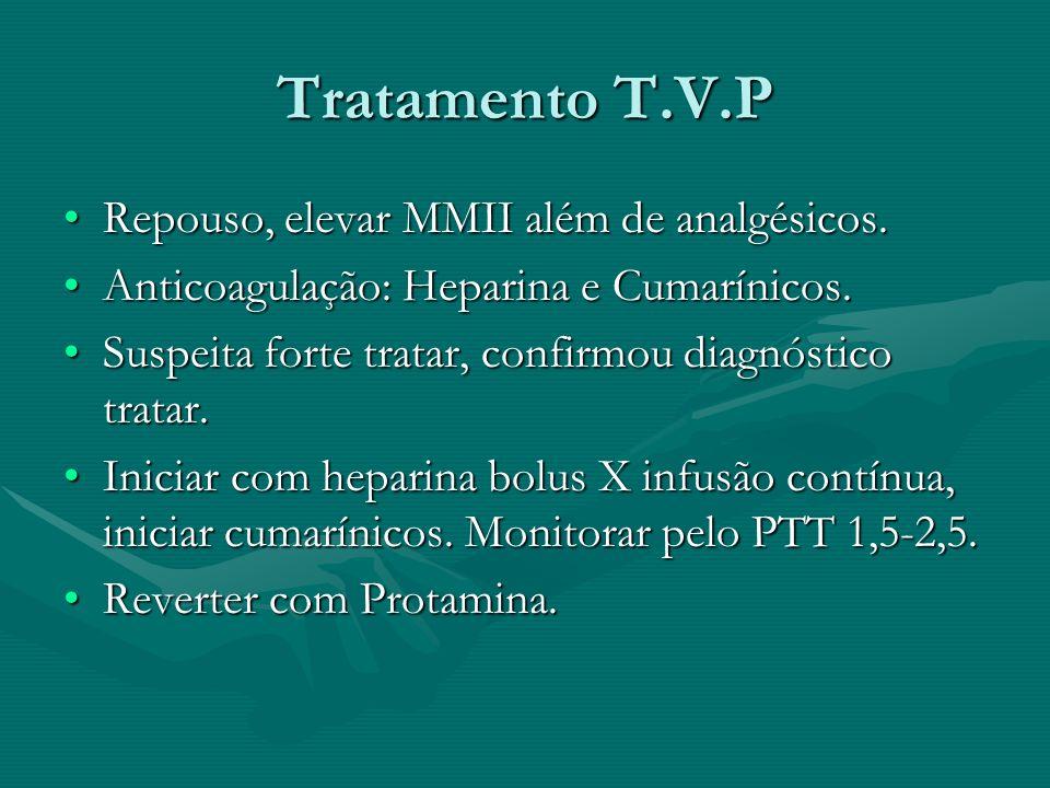 Tratamento T.V.P Repouso, elevar MMII além de analgésicos.