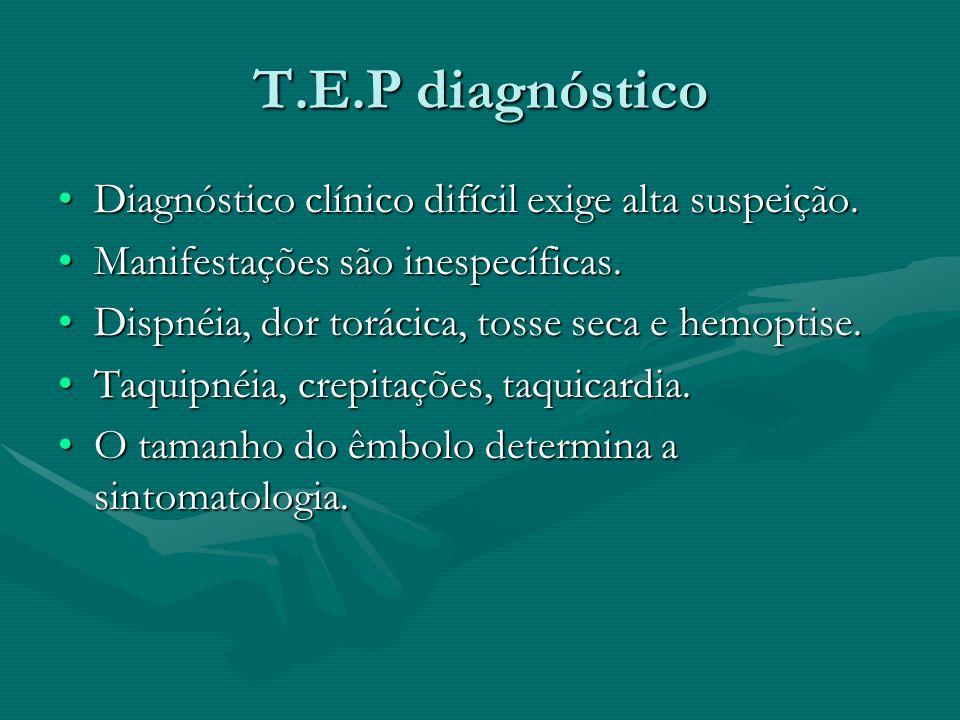 T.E.P diagnóstico Diagnóstico clínico difícil exige alta suspeição.
