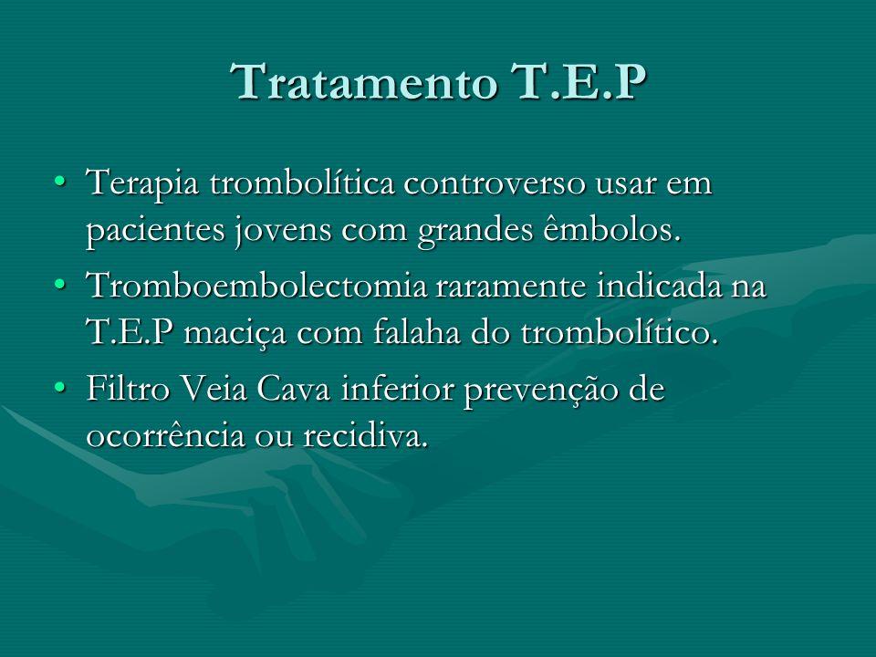 Tratamento T.E.P Terapia trombolítica controverso usar em pacientes jovens com grandes êmbolos.