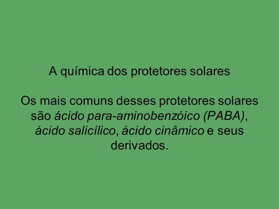 A química dos protetores solares Os mais comuns desses protetores solares são ácido para-aminobenzóico (PABA), ácido salicílico, ácido cinâmico e seus derivados.