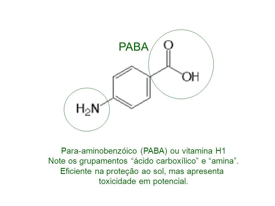 PABA Para-aminobenzóico (PABA) ou vitamina H1 Note os grupamentos ácido carboxílico e amina . Eficiente na proteção ao sol, mas apresenta.