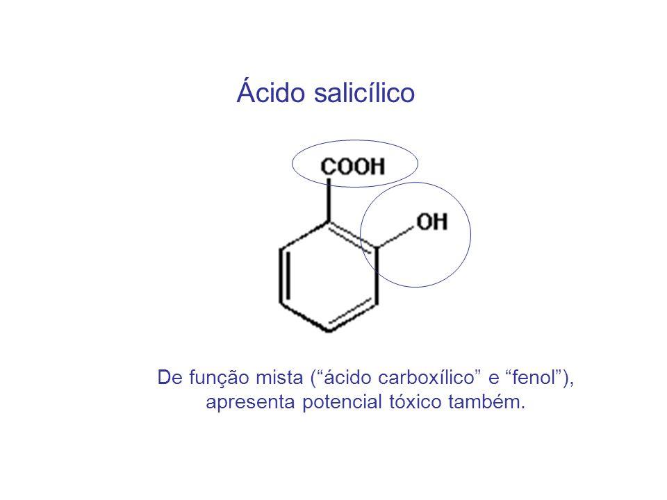 Ácido salicílico De função mista ( ácido carboxílico e fenol ),