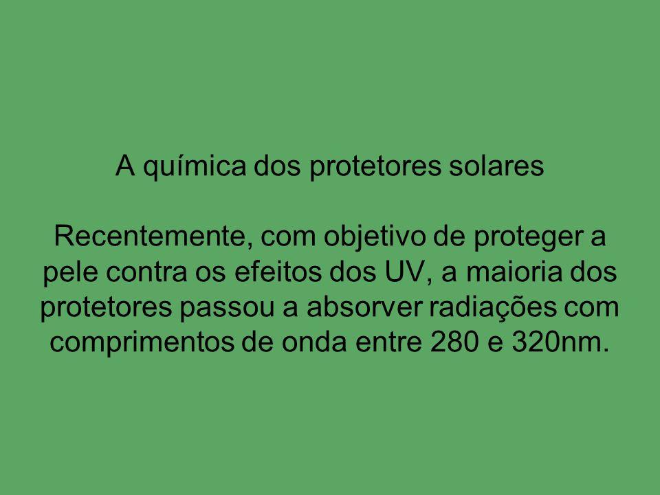 A química dos protetores solares Recentemente, com objetivo de proteger a pele contra os efeitos dos UV, a maioria dos protetores passou a absorver radiações com comprimentos de onda entre 280 e 320nm.