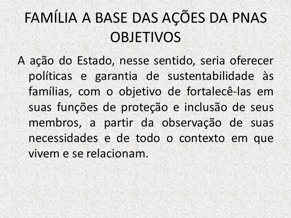 FAMÍLIA A BASE DAS AÇÕES DA PNAS OBJETIVOS
