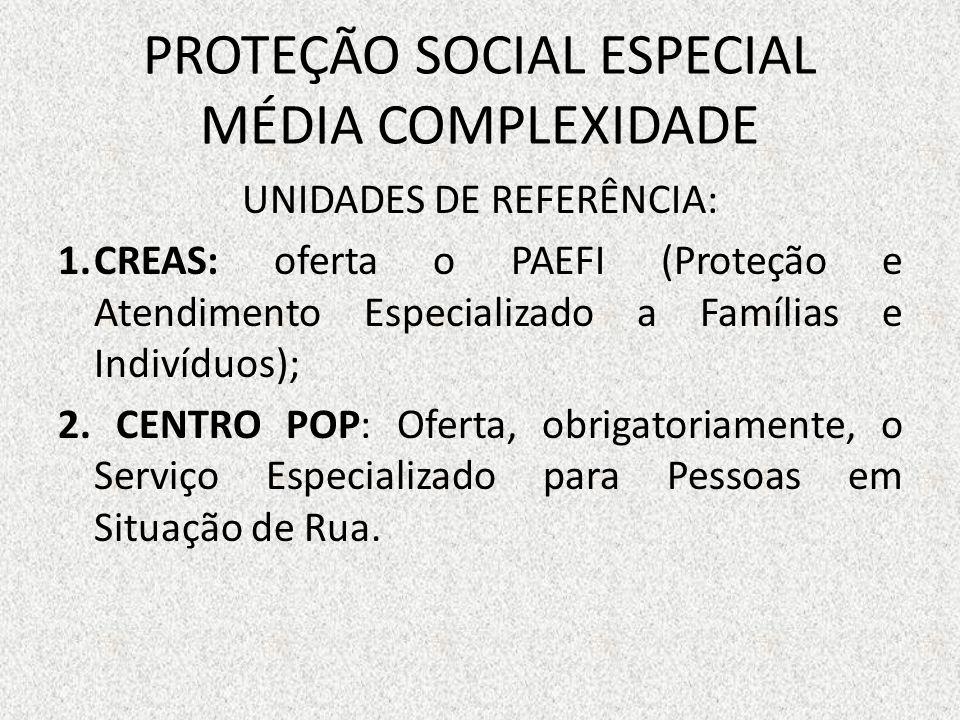 PROTEÇÃO SOCIAL ESPECIAL MÉDIA COMPLEXIDADE