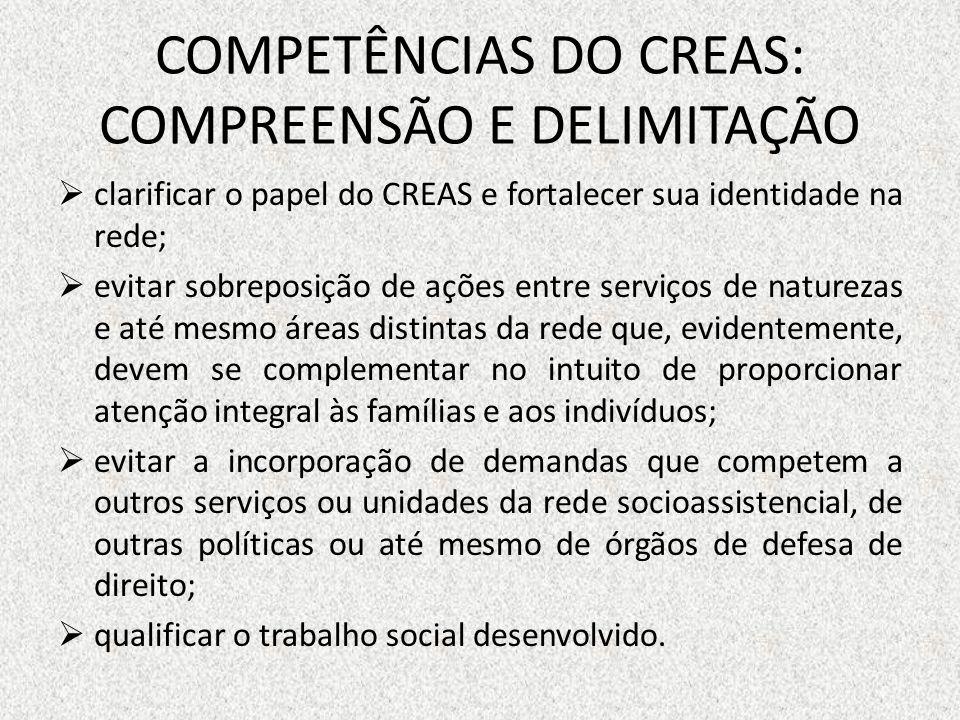 COMPETÊNCIAS DO CREAS: COMPREENSÃO E DELIMITAÇÃO