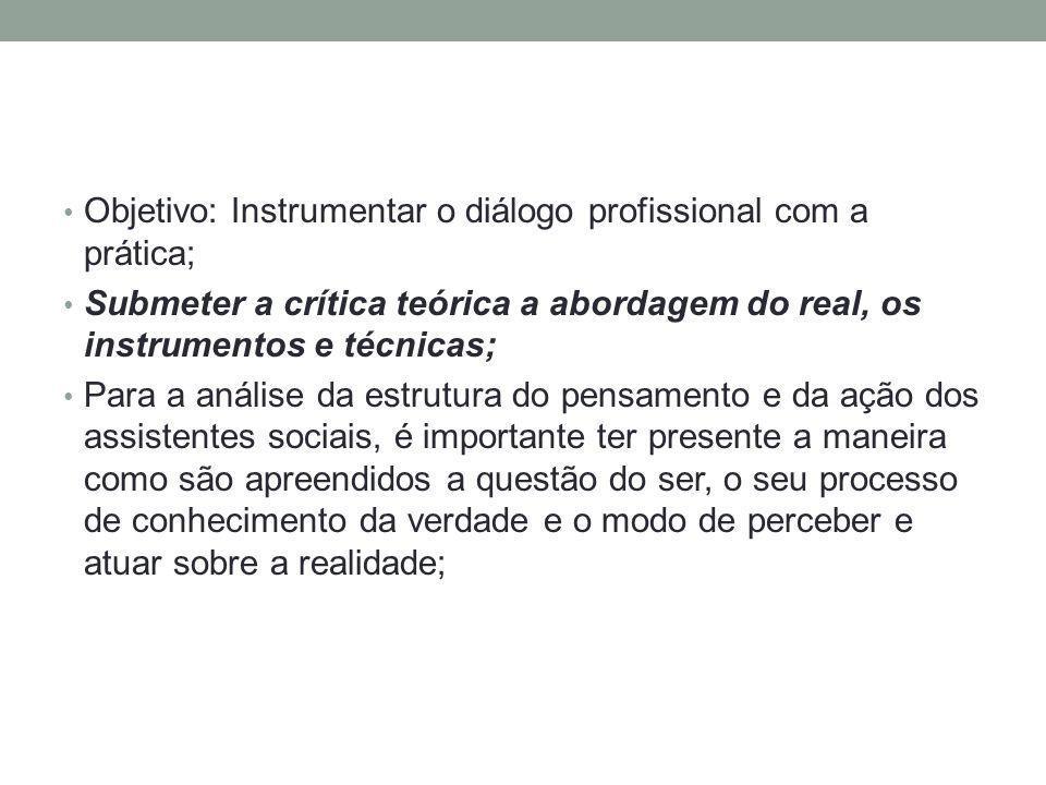 Objetivo: Instrumentar o diálogo profissional com a prática;