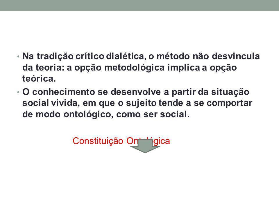 Na tradição crítico dialética, o método não desvincula da teoria: a opção metodológica implica a opção teórica.