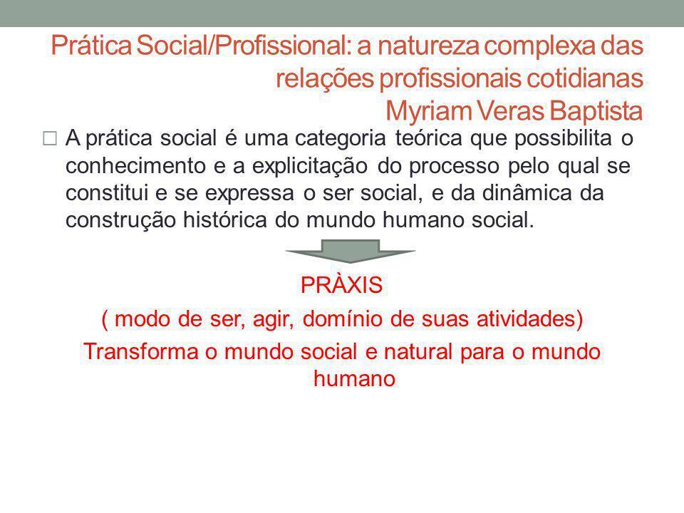 Prática Social/Profissional: a natureza complexa das relações profissionais cotidianas Myriam Veras Baptista