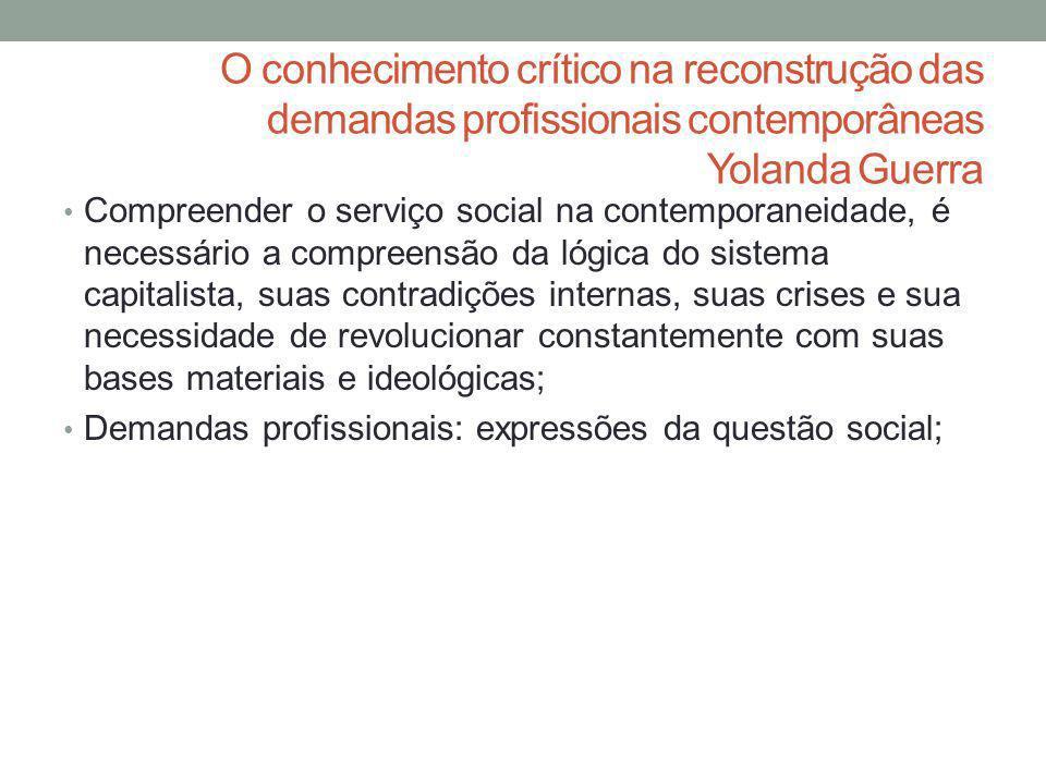 O conhecimento crítico na reconstrução das demandas profissionais contemporâneas Yolanda Guerra
