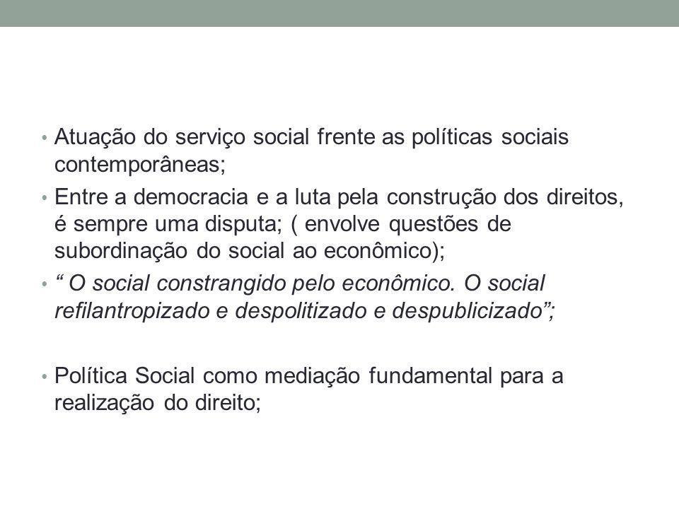 Atuação do serviço social frente as políticas sociais contemporâneas;