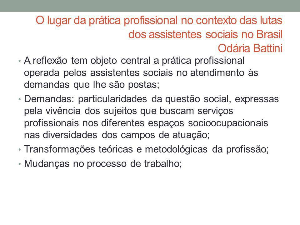 O lugar da prática profissional no contexto das lutas dos assistentes sociais no Brasil Odária Battini
