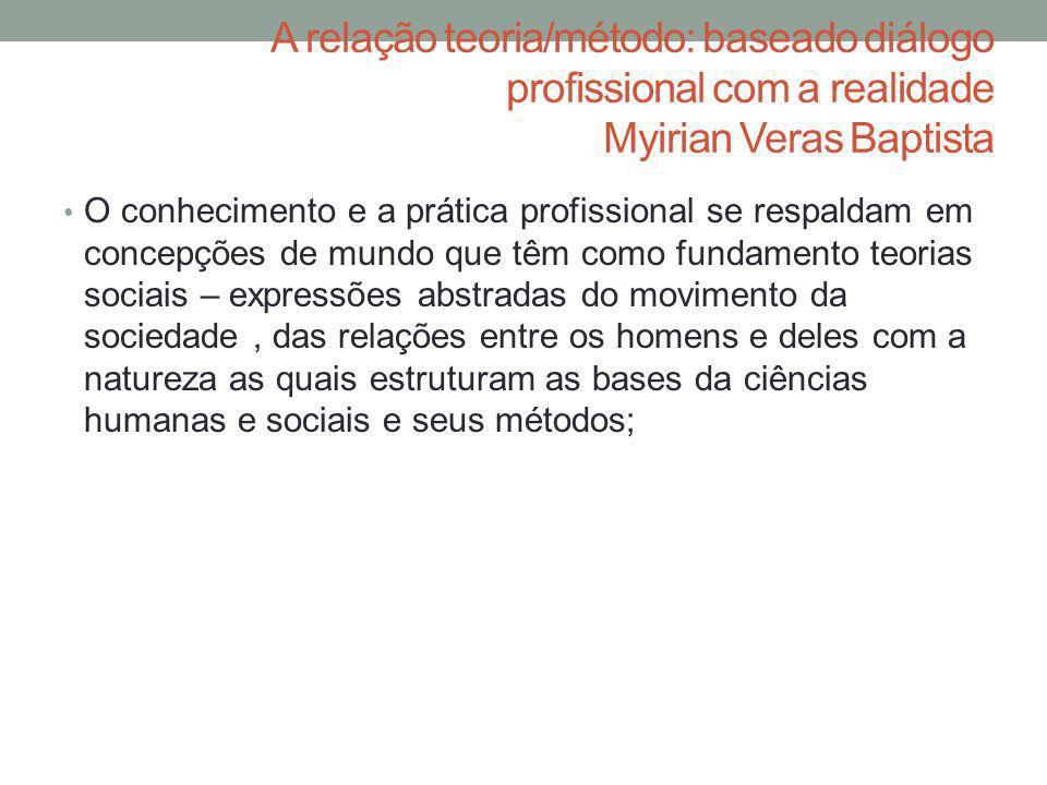 A relação teoria/método: baseado diálogo profissional com a realidade Myirian Veras Baptista
