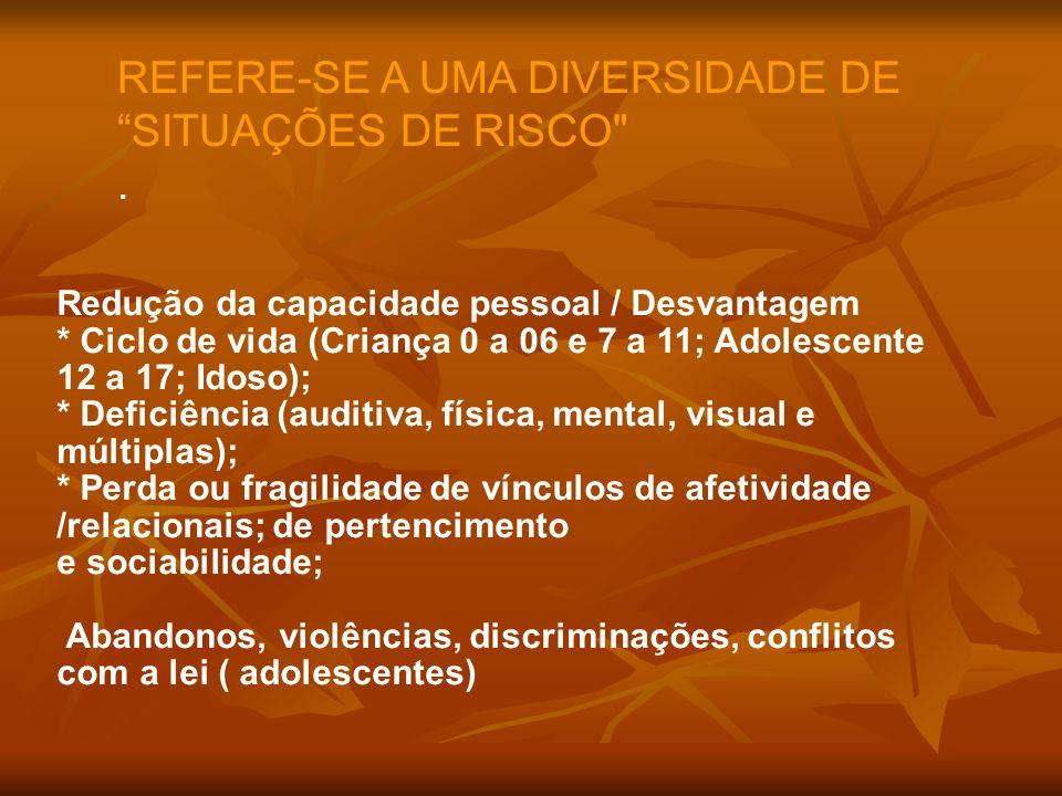 REFERE-SE A UMA DIVERSIDADE DE SITUAÇÕES DE RISCO .