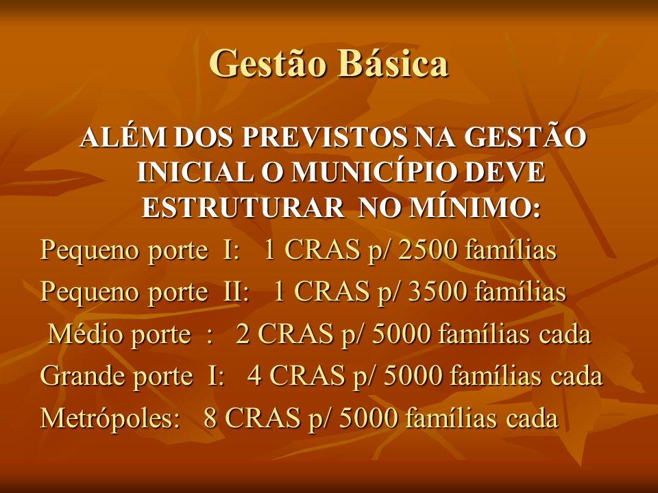 Gestão Básica ALÉM DOS PREVISTOS NA GESTÃO INICIAL O MUNICÍPIO DEVE ESTRUTURAR NO MÍNIMO: Pequeno porte I: 1 CRAS p/ 2500 famílias.