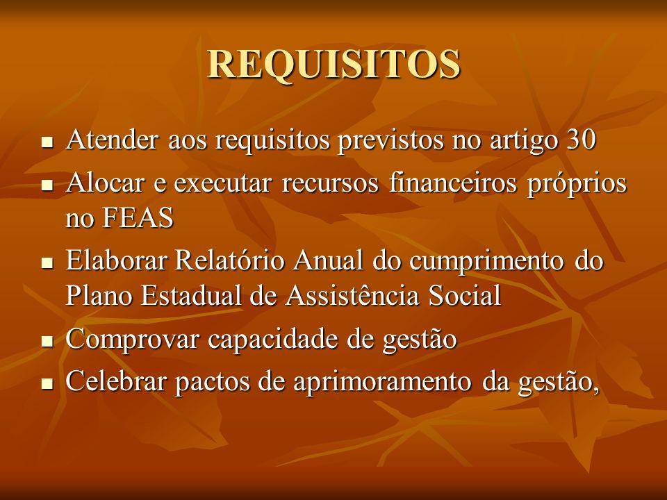 REQUISITOS Atender aos requisitos previstos no artigo 30
