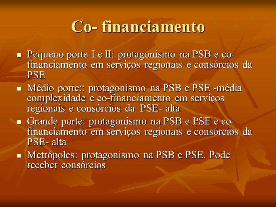 Co- financiamento Pequeno porte I e II: protagonismo na PSB e co-financiamento em serviços regionais e consórcios da PSE.