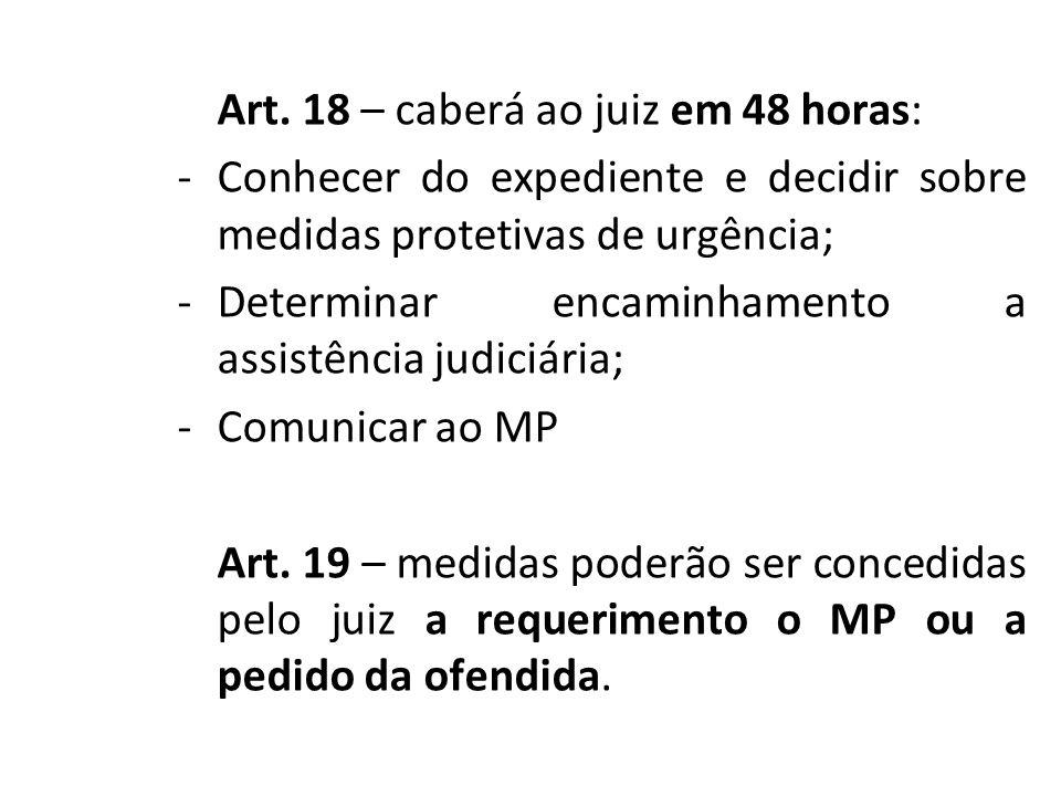 Art. 18 – caberá ao juiz em 48 horas: