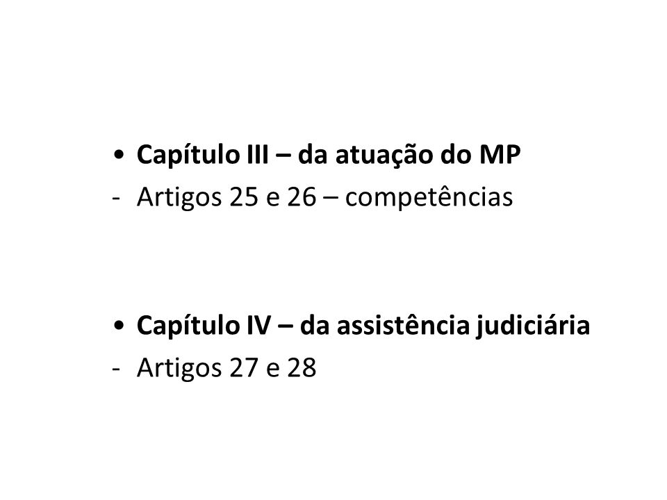 Capítulo III – da atuação do MP