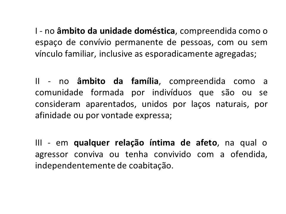 I - no âmbito da unidade doméstica, compreendida como o espaço de convívio permanente de pessoas, com ou sem vínculo familiar, inclusive as esporadicamente agregadas;