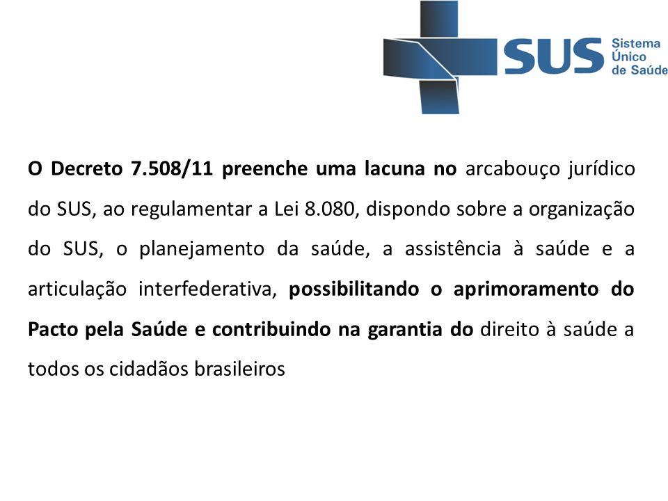 O Decreto 7.508/11 preenche uma lacuna no arcabouço jurídico do SUS, ao regulamentar a Lei 8.080, dispondo sobre a organização do SUS, o planejamento da saúde, a assistência à saúde e a articulação interfederativa, possibilitando o aprimoramento do Pacto pela Saúde e contribuindo na garantia do direito à saúde a todos os cidadãos brasileiros