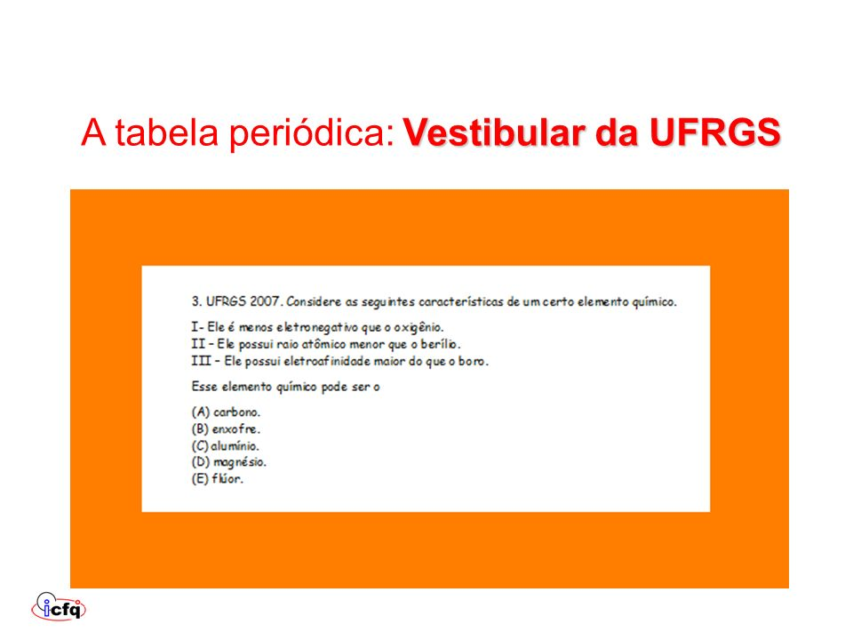 A tabela periódica: Vestibular da UFRGS