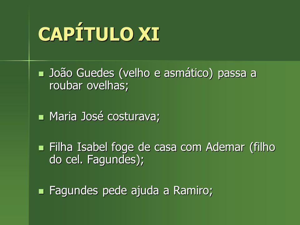 CAPÍTULO XI João Guedes (velho e asmático) passa a roubar ovelhas;