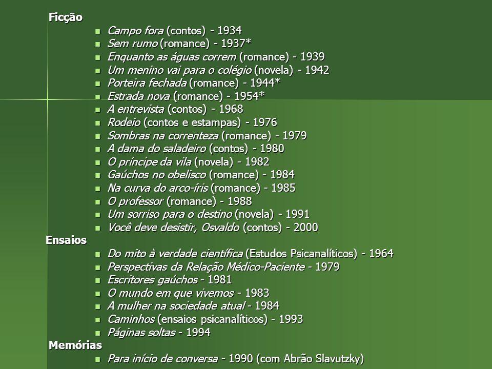 Ficção Campo fora (contos) - 1934. Sem rumo (romance) - 1937* Enquanto as águas correm (romance) - 1939.