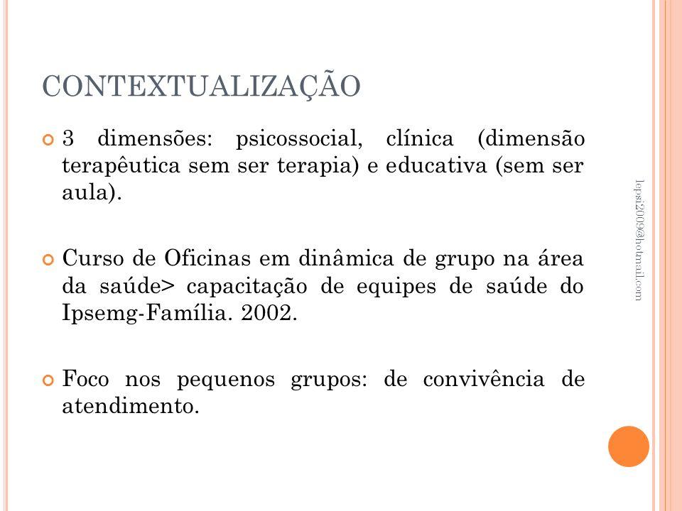 CONTEXTUALIZAÇÃO 3 dimensões: psicossocial, clínica (dimensão terapêutica sem ser terapia) e educativa (sem ser aula).