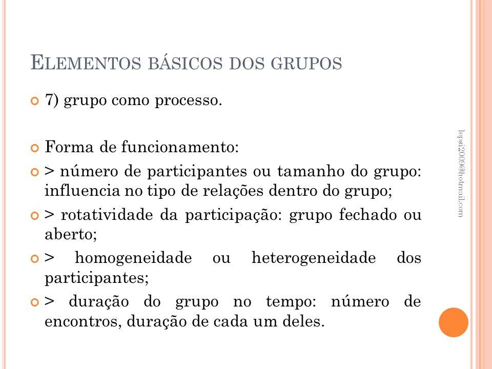 Elementos básicos dos grupos