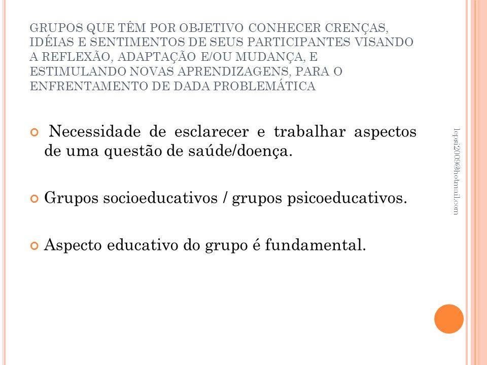Grupos socioeducativos / grupos psicoeducativos.